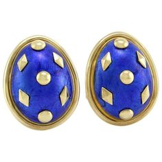 Tiffany & Co. Schlumberger Gold and Enamel Dot Losange Earclips 1
