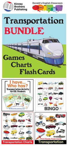 This bundle offers a treasure trove of transportation vocabulary activities including Bingo and I Have/Who Has game sets. Flash Cards and Charts give you tools for vocabulary practice and cut-out pages for students' interactive notebooks!