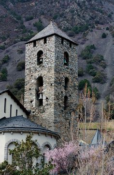 Sant Esteve Church in Andorra-la-Vella, in the Pyrenees Mountains between France and Spain