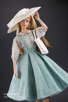 """suspender skirt with shirt for Barbie and 12"""" doll by SL Doll Fashion"""