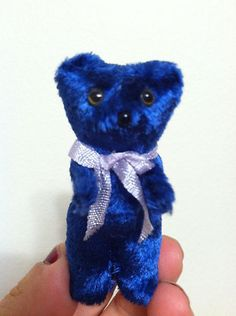 RARE GERMAN ? ANTIQUE VINTAGE MINIATURE BLUE BEAR STANDING MINT MUST SEE CUTE NR