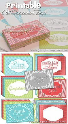 Printable All Occasion Tags - includes birthday, thank you, get well soon, thinking of you, congratulations and blank tags