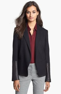 Theory 'Antonito' Knit & Leather Jacket | Nordstrom