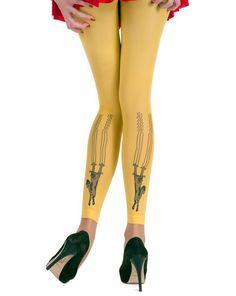 Hotlook Scratch Cat Leggings in gelb für wilde Kätzchen! Cool bei www.funnylegs.de