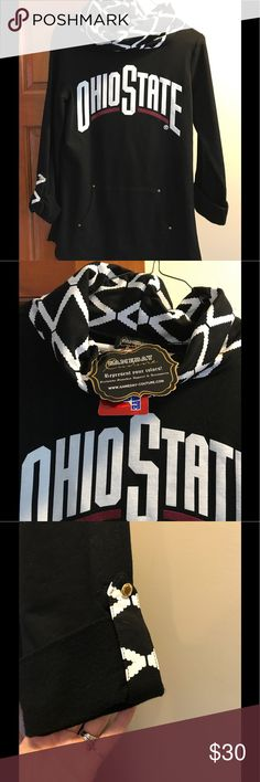 Ohio State Cowl Neck Sweathshirt Sweatshirt material makes this just a sophisticated version of the cowl neck sweater!  Long styling falls below waist and rear end.  Sleeves have decorative touch matching neckline.  NWT Gameday Tops Sweatshirts & Hoodies