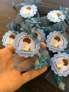 24 organza bags with mini rosaries included and thank you card- Boy Baptism favors- Christening Baptism boy favors -blue baptism favor Baptism Boy Favors, Boy Baptism Centerpieces, First Communion Decorations, Christening Decorations, Christening Favors, Baptism Ideas, Recuerdos Primera Comunion Ideas, Baby Boy Christening, Baby Showers