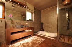 You can position your sunken tub in a corner for more privacy or you can use curtains