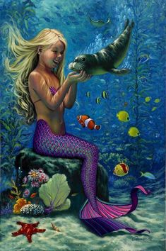 Mermaid original art, giclee and poster prints Fantasy Mermaids, Real Mermaids, Mermaids And Mermen, Mermaid Fairy, Cute Mermaid, The Little Mermaid, Mermaid Style, Mythical Creatures, Sea Creatures