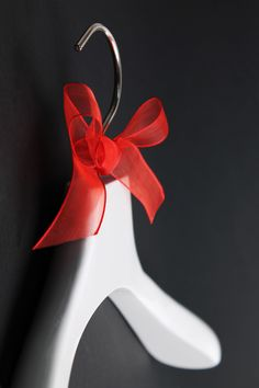 #Christmas #hanger #red #bow Smart Packaging, Fashion Packaging, Wooden Hangers, Bows, Red, Christmas, Arches, Xmas, Bowties