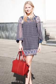 PATTERN PLAYS #UllaJohnson #Dress #Céline #Bag #look #womenswear #patterned