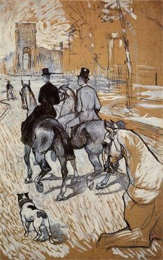 Henri de Toulouse-Lautrec (French:1864–1901) - Horsemen Riding in the Bois de Boulogne (1888)
