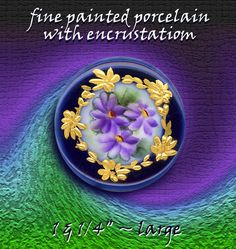 19th C. Gilded Foliate Bordered Violets on Cobalt Rim Button ~ R C Larner Buttons at eBay & Etsy        http://stores.ebay.com/RC-LARNER-