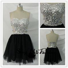 Strapless Black Short Cutout Waist Rhienstone Beaded Top Prom Dress 2015, Sparkly iridescent Jewels Top Sexy Short Homecoming Dresses