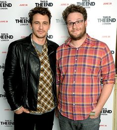 """The hilarious Seth Rogen sported his usual rectangular, two-toned black and clear specs for a screening of his film """"This Is The End."""""""