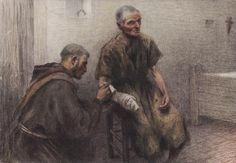 """Eugène Burnand, """"Friar Bentivoglia tends a leper"""" """"There is simply no group as marginalized in the Catholic Church as LGBT people. Sometimes they're treated like lepers. Church Pictures, Religious Pictures, Francis Of Assisi, St Francis, St Joan, Religious Education, St Joseph, Roman Catholic, San Francisco"""