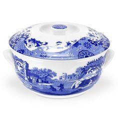 Blue Italian Covered Vegetable Bowl