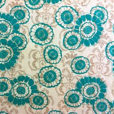 Teal Blue Floral on Taupe Baroque Cotton Jersey Knit Fabric - $5.25/yd @ Girl Charlee