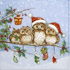 Single Table Party Paper Napkins for Decoupage Ride Into Christmas for sale online Christmas Applique, Christmas Owls, Christmas Pictures, Handmade Christmas, Christmas Time, Vintage Christmas, Christmas Crafts, Christmas Decorations, Paper Napkins For Decoupage