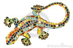 Close-up souvenir toy, beautiful colored lizard isolated on white.