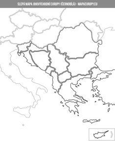 Černobílá slepá mapa jihovýchodní Evropy