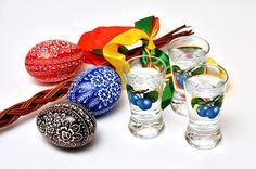 Happy Easter. Czech painted eggs, and Slivovice. Na zdravi!