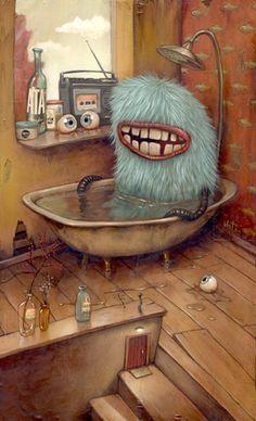 Monster taking a bath! Artist? Art, illustration, posters.