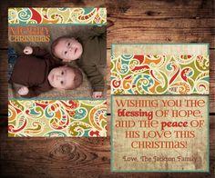 Family photo Christmas Card (printable)- Christmas paisley and old paper. One of my favs :)