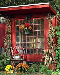 Vintage Window | Red Garden Shed | Backyard Landscaping | Guest House