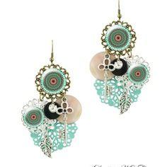 Boucle d'oreille cabochon mandala turquoise - boucles d'oreilles pendantes milacréa