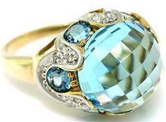 7 60ct Blue Topaz 18 Diamond 9ct 9K Ring