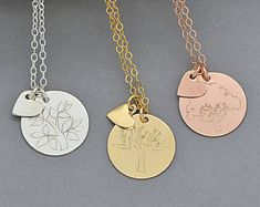 Tree Of Life Necklace / Mom Necklace / Family Tree Necklace / Gift For Mom / Mothers Necklace / Gift for Grandmother / Personalized Disc by malizbijoux. Explore more products on http://malizbijoux.etsy.com