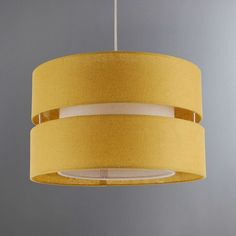 Crafted with quality cotton in a contemporary ochre colour, this circular Frea light shade features a two tiered structure and modern cut out design, suitable for use as both a ceiling pendant and floor lamp shade. Yellow Lamp Shades, Floor Lamp Shades, Bedroom Light Shades, Lounge Ceiling Lights, Ochre Lighting, Unique Living Room Furniture, Bedroom Lighting, Bedroom Ceiling, Bedroom Decor