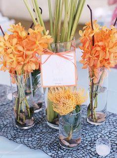 Reception, Orange, Decor, Blue, Wedding, Beach, Colorful, Hawaii, Destination wedding, Hawaiian wedding, Table number, Kuaui