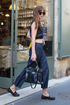 Dakota Johnson in Staud top and culotte and Gucci loafers in Paris (II)