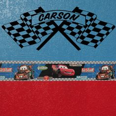 CHECKERED FLAG with Personalized Monogram Name (W00271) boy's bedroom wall decal, vinyl lettering art, car racing graphic. $12.99, via Etsy.