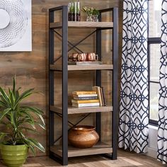 Put a collection of your treasured novels and glossy art books on display in the den with this alluring etagere bookcase, but don't forget to save a shelf to build your own miniature home bar! Metal Furniture, Living Room Furniture, Diy Furniture, Furniture Design, Etagere Bookcase, Ladder Bookcase, Wood Shelves, Shelving, Glass Shelves