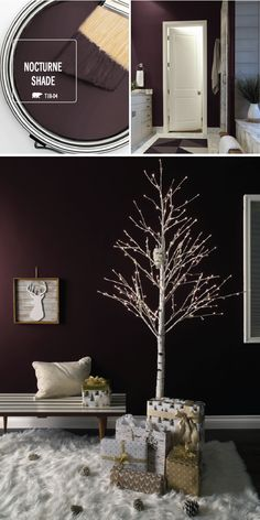 Add a dash of glamour into your holiday home decor with a fresh coat of the BEHR Paint Color of the Month: Nocturne Shade. This deep purple hue contrasts beautifully against bright white and gold accent colors. Use modern decorations—like this lighted birch tree or this fur rug—to create this look in your own home.