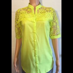 Ceres lime green lace top Lace button up shirt * bust (armpit to armpit) is 19 inches* length is 30 inches *100% cotton * 15% off bundles Cerese Tops Button Down Shirts