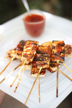 Grilled Tofu with Spicy Plum BBQ Sauce