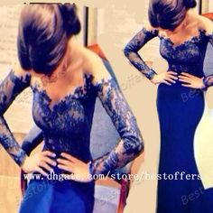 Discount Sheer Lace Long Sleeves Evening Dress with Off the Shoulder V Neck Mermaid Sheath Royal Blue Prom Gowns Party Gowns XH820 Online with $115.92/Piece   DHgate