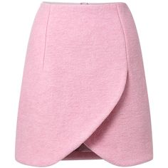 See this and similar Carven mini skirts - Rose pink crushed wool petal hem mini skirt featuring a fitted waist, an exposed silver-tone zip fastening to the back...
