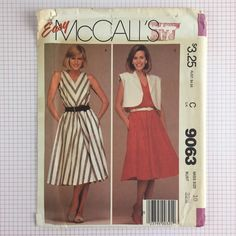Uncut Vtg 1980s McCalls 9063 Pattern Misses Dress Sz 10 V-Neck Sleeveless Jacket #McCalls