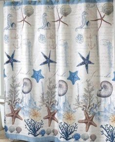 image result for seahorse fabric in blues and greys nautical shower