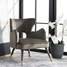 Wingback Accent Chair, Accent Chairs, Redford House, Green Fabric, Green Velvet, Upholstery, Design Inspiration, Contemporary, Gray