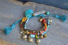 Boho hippie  bracelet Ethnic multi strand by BeadStonenSkin