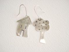 House  tree Earrings Sterling Silver Earrings by PenelopeStudio, $32.00