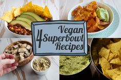 Enjoy these 4 Vegan Recipes for your Superbowl Feast! Including some Cheesy Crackers, Guacamole and Potato Twisters! Everything you need to please a crowd.