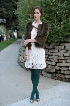 lace dress, green tights, snakeskin shoes, bubble necklace, tan sweater (add broach)