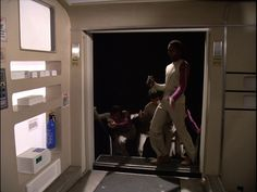 Interior, passenger module of Eagle set from the the television show Space: 1999. Side door in the passenger module. Door open.