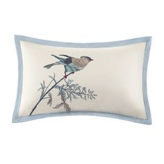 Bring a little bit of nature into your bedroom with this beautiful comforter set.  The Pyrenees Bedding collection takes a beautiful scenic bird print and adds dimension through designer quilting on the comforter and shams.  The shades of blue and khaki are paired perfectly with the ivory cotton texture.